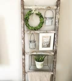 Wooden ladder decor on pinterest wooden ladders old ladder shelf
