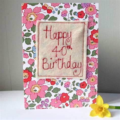 Embroidered Birthday Card Special Age Embroidered Birthday Cards By Edamay