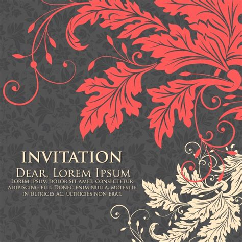 wedding card floral designs vector wedding invitation and announcement card with floral