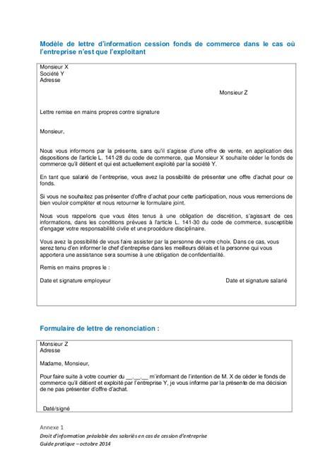 Modele De Lettre Reprise D Entreprise Guide Pratique D Information Des Salari 233 S Et Des Entreprises