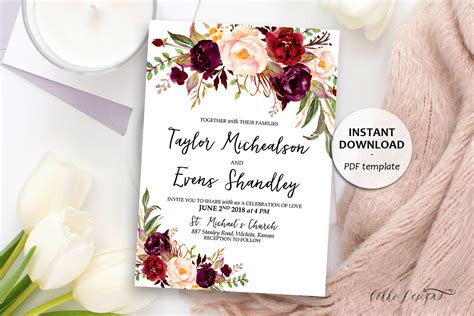invitation designs etsy marsala floral wedding invitation boho wedding template