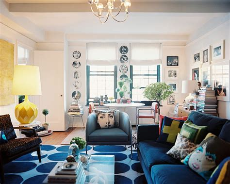 eclectic living room     lonny