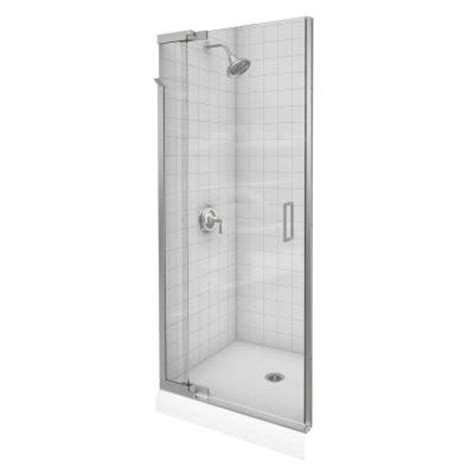 Frameless Glass Shower Doors Home Depot Kohler Purist 42 In X 72 In Heavy Frameless Pivot Shower Door In Vibrant Brushed Nickel Finish