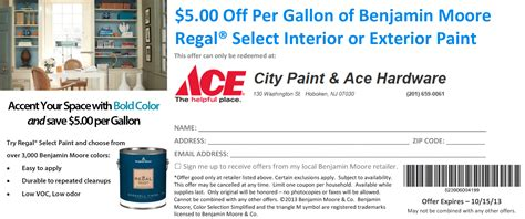 september benjamin coupon city paint ace hardware