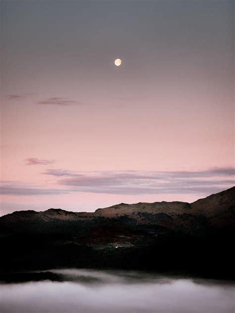 moonrise   lakeland mountains oc