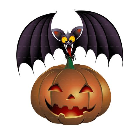 halloween bat cartoon and pumpkin by bluedarkat graphicriver