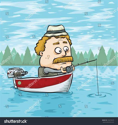 cartoon man in boat fishing a cartoon man fishing in an aluminum boat on a lake stock