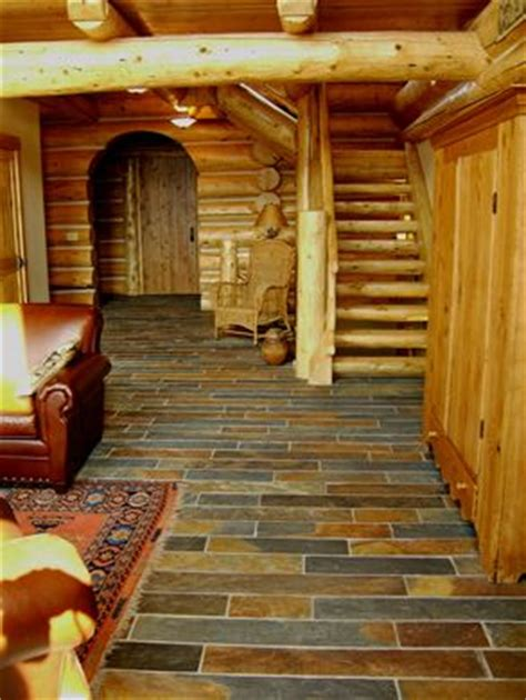 slate floor for our log house home dreams ideas and