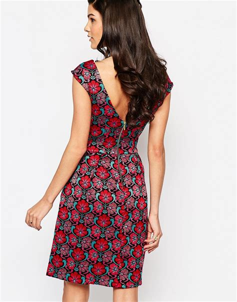 Closet Dress by Closet V Back Dress In Floral Jacquard Lyst