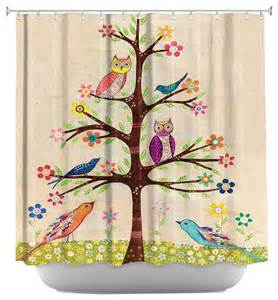 shower curtain artistic owl bird tree ii contemporary