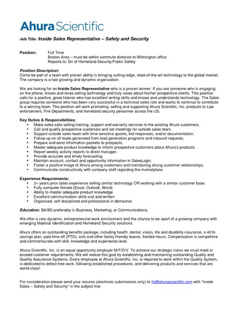sales representative description resume template car