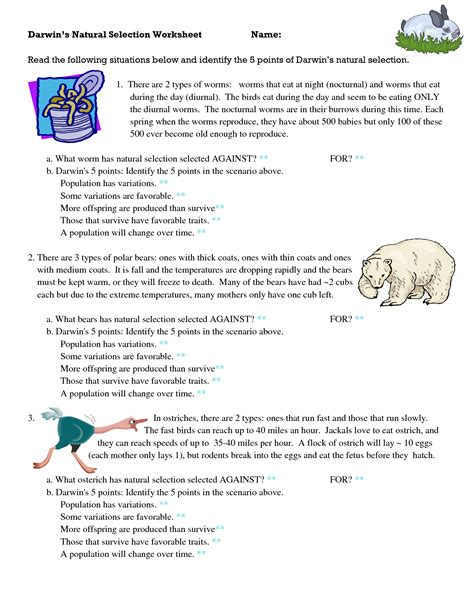Darwin S Selection Worksheet by Evolution By Selection Worksheet Deployday