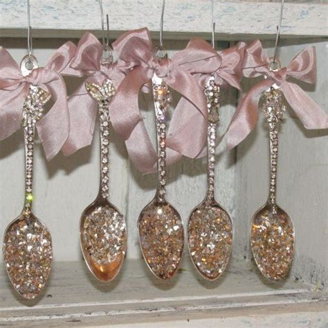 christmas tree ornaments rhinestone spoon grouping