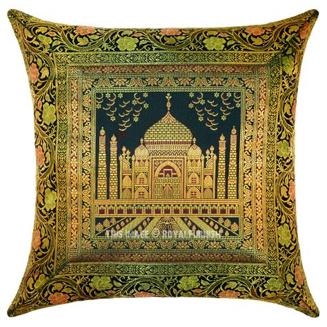 Silk Throw Pillow Covers by Green Multi Decorative Tajmahal Silk Throw Pillow Cover