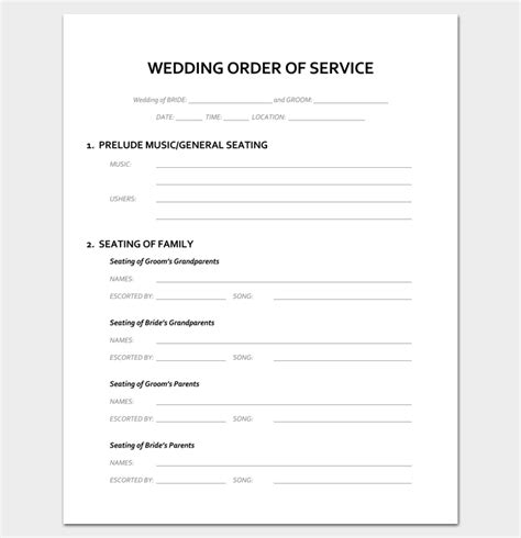 wedding blessing order of service template event program outline 13 printable sles exles