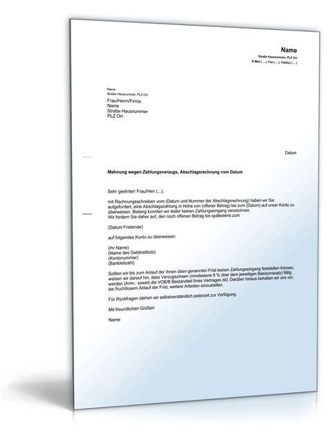 Muster Mahnung Wegen Rücklastschrift Mahnung Zahlungsverzug Verpflichtung Abschlagszahlung