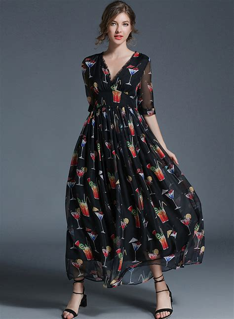 Sleeve V Neck Maxi Dress v neck half sleeve floral print maxi dress roawe