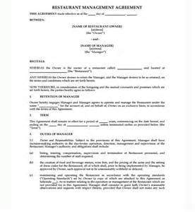 Business Manager Contract Template Restaurant Management Agreement Contract Sample Contracts