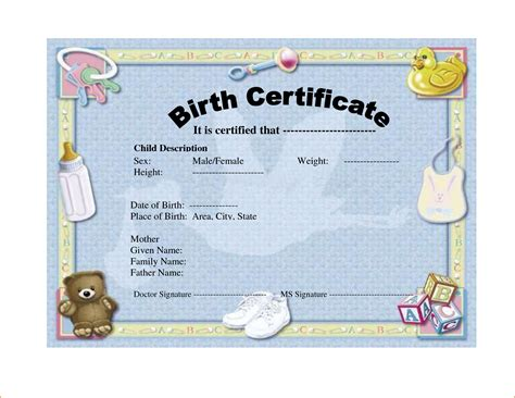 baby birth certificate template 6 birth certificate templates teknoswitch