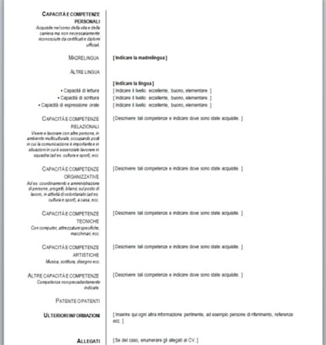 format cv europeo word curriculum vitae europeo da compilare download