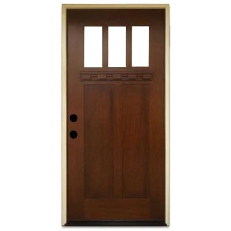Home Depot Exterior Doors With Windows Steves Sons 36 In X 80 In Shaker 3 Lite Stained Mahogany Wood Prehung Front Door M2203 Ct