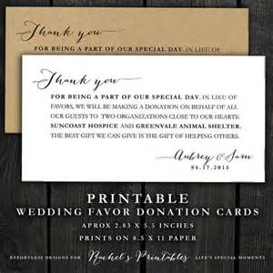 printable wedding donation favor cards wedding thank you note donations favors cards diy