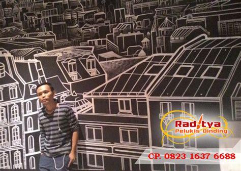 lukisan dinding cafe keren hitam putih