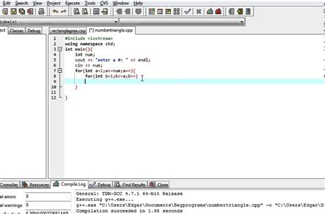 triangle pattern in java using for loop c program prints a right triangle with a number pattern