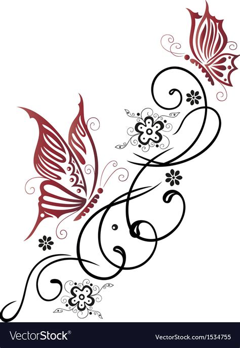 tribal flower butterfly tattoo style royalty free vector