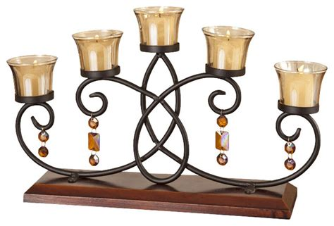 Candle Holder Runners 5 Votive Wood Runner Candle Holder Candelabra