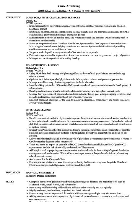 Physician Resume by Physician Liaison Resume Sles Velvet