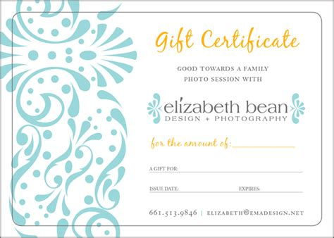 gift certificate template for photographers gift certificates 171 elizabeth bean photography