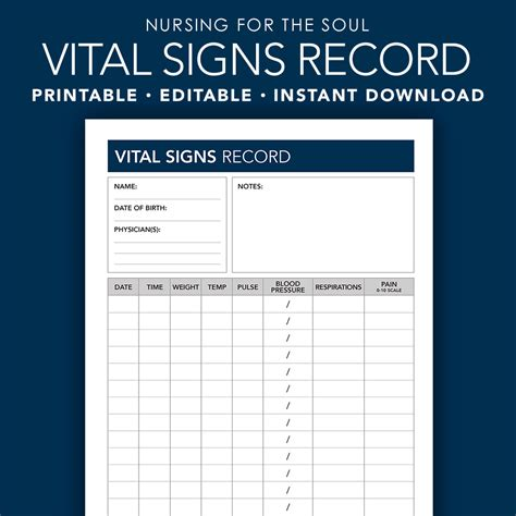 vital signs template editable vital signs form vital signs vital signs for