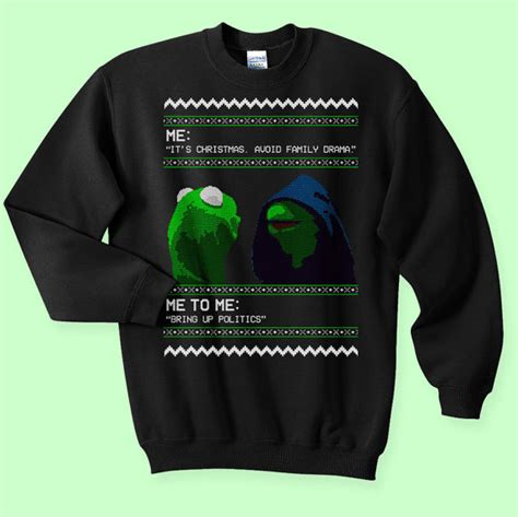 Meme Ugly Christmas Sweater - evil kermit 2016 meme ugly christmas sweater by kippcreations