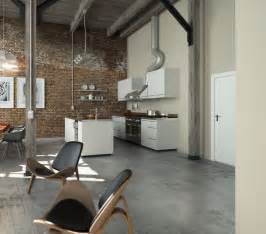 Concrete Floor Apartment by Perserverence Design Cool Palette Open Plan Kitchen