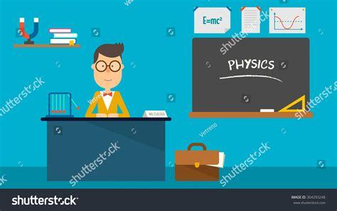 vector tutorial in physics school physics teacher in classroom flat design vector