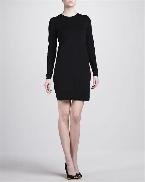 michael kors knit dress michael kors longsleeve knit dress in black lyst