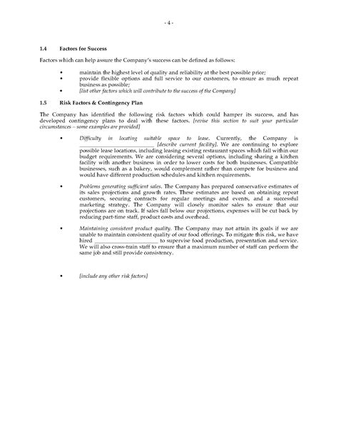 catering business plan forms and business