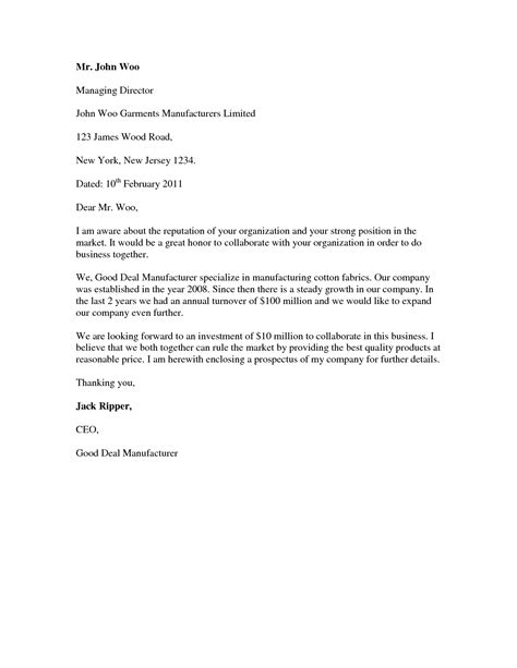 format of cover letter for a cover letter standard format best template collection