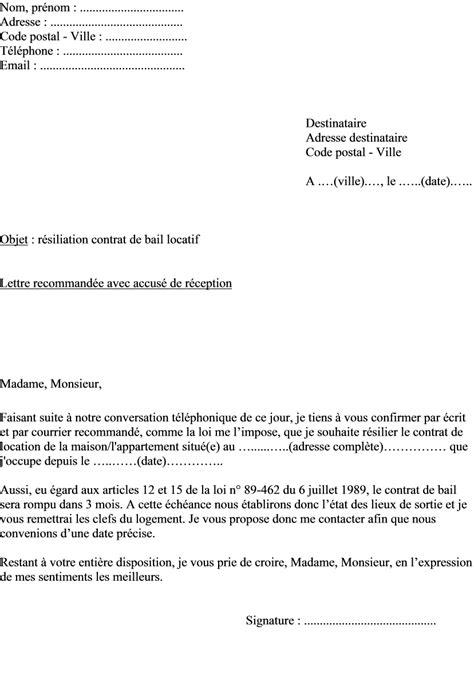 Modeles De Lettres Resiliation Contrat Modele Lettre Resiliation Contrat De Location Appartement Document