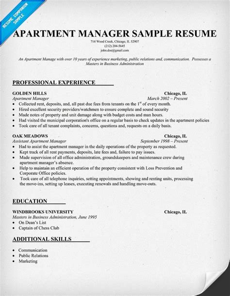 apartment manager resume sle work