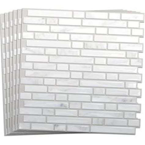 smart tiles 6 pack white silver composite vinyl mosaic