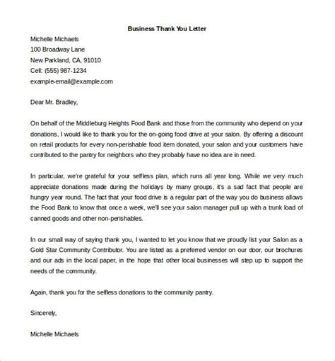 thank you letter business development thank you for your hospitality business letter exle