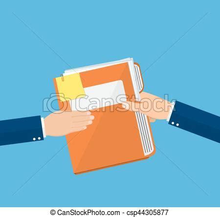 clipart donne papiers mains dossier document donner plat style