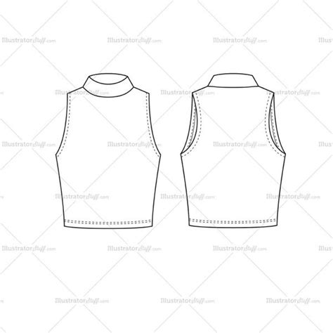 top templates s turtleneck crop top fashion flat template