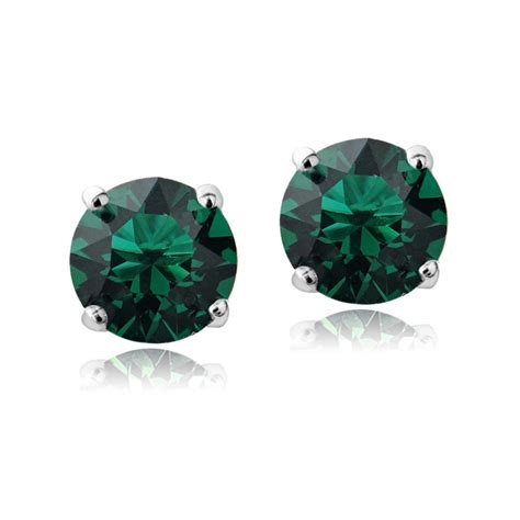 Swarovski Elements Stud Earring swarovski elements emerald may birthstone stud earrings