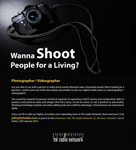 Find A Photographer by Photographer Videographer Vacancy In Sri Lanka