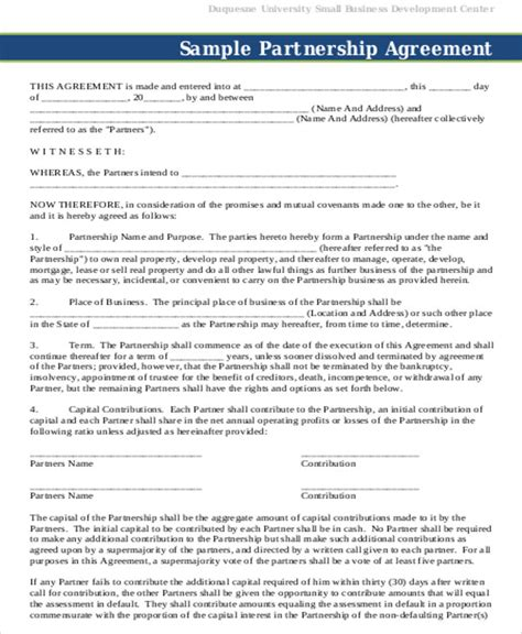 Exle Of A Business Contract by Partnership Agreement Contract Sle 7 Exles In Word Pdf