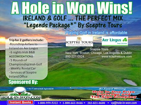 ireland golf package hole   insurance prize description
