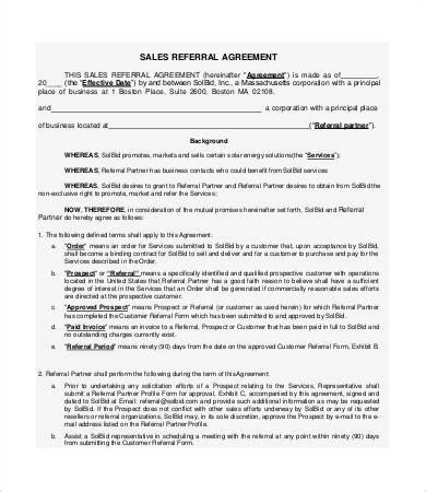 sales referral agreement template referral agreement templates 9 free pdf documents